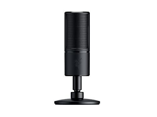 Razer Seiren X - PC Gaming Microfono a Condensatore per Streaming, Resistente Agli Urti, Porta di Monitoraggio Cuffie da 3.5 mm a Latenza Zero, Shock Mount Incorporata, Nero