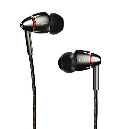 1MORE Quad Driver Auricolari In-Ear con Microfono e Telecomando, Hi-Res Cuffie Stereo, Bassi potenti, Alta Definizione - E1010 Argento/Grigio