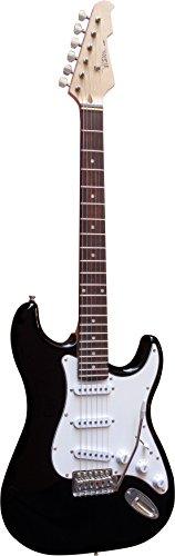 Chitarra elettrica Nero–e della chitarra con massivholzkoerper–Vision Sound–bianco Pickup + Cavo–st5bk