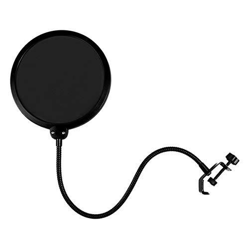 JieGuanG - Filtro pop per microfono, girevole, a doppio strato, protezione per il suono, colore: nero