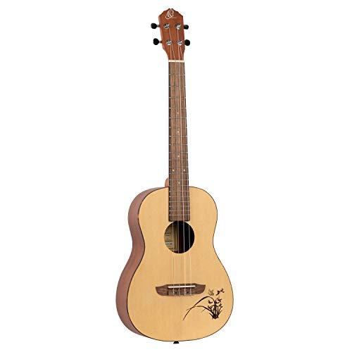 Ortega Guitars RU5 BA Ukulele Baritono Serie Bonfire, Abete Naturale Inciso Al Laser, Acustico, Marrone (Abete)