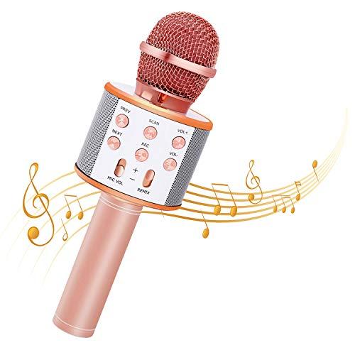 Bearbro Microfono Karaoke Bluetooth con Altoparlante,Portatile KTV Karaoke Player per Cantare, Funzione Eco, per Adulti e Bambini Compatibile con Android/PC or smartphone (Oro rosa)