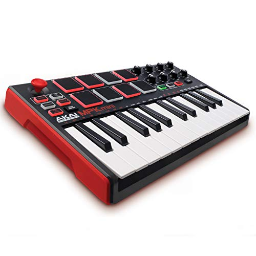 AKAI Professional MPK Mini MKII - Tastiera Controller MIDI USB con 25 Tasti, 8 PAD, Potenziometri e Joystick + VIP 3 e Pacchetto di Software Inclusi, MAC/PC