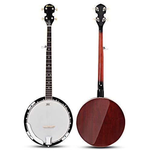 COSTWAY Banjo a Cinque Corde con Custodia, Strumento Musicale Banjo in Legno, Banjo per Principianti e Studenti, Dotato con Custodia, Cinghia, Panno, Plettri e Set di Corde, Sintonizzatore