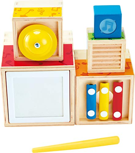 Hape- Wooden Musical Instrument Stacking Set Impilare, Multicolore, E0336