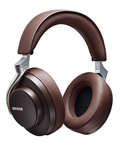 Cuffie wireless Shure AONIC 50 con cancellazione del rumore, eccellente qualità sonora da studio, Bluetooth 5, confortevole design over-ear, 20 h di durata della batteria, facili da usare, Marroni