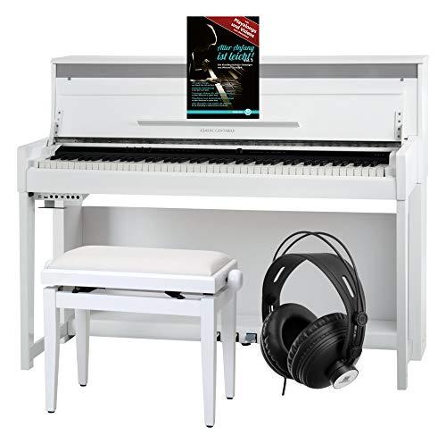 Classic Cantabile UP-1 WM Pianoforte digitale bianco opaco SET deluxe
