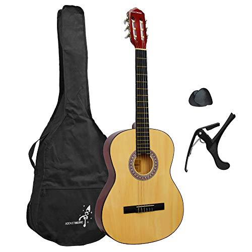 Rocket XF201AN XF serie Chitarra Classica 4/4 Completa di Accessori (Capotasto, plettri, Borse per chitarra classica, tracolle)