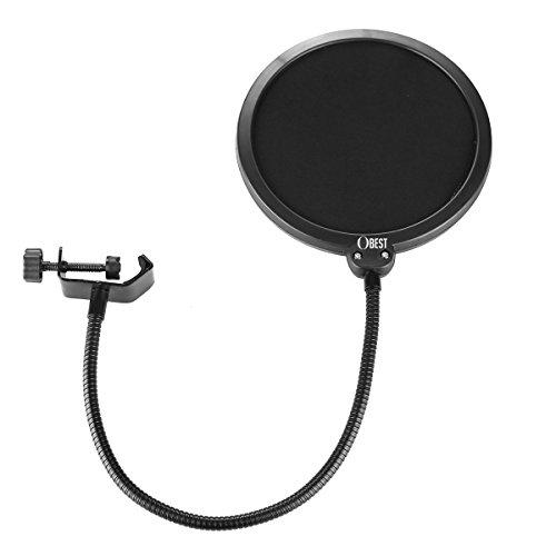 OBEST 6 pollici, 360°, flessibile, anti-vento e anti pop per rete microfoni, doppia, Nero
