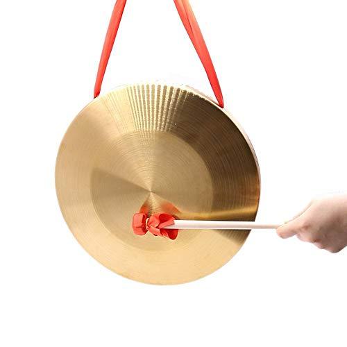 boastvi Gong Tam Tam Gong Whood Chau Gong, Set di Percussioni Piatti Gong A Mano in Ottone E Rame con Martello, Strumenti A Percussione per Bambini - 10/15,5 Cm