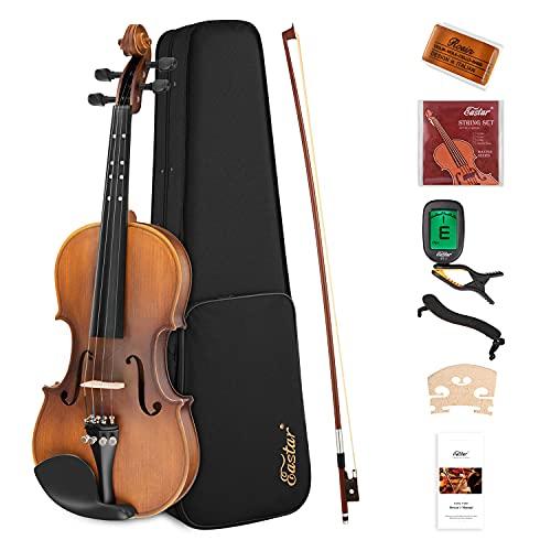 Eastar Violino 3/4 Violini Set per Bambini Adulto Principiante Violino in Legno di Abete con Custodia Archetto Poggiaspalla Colofonia Accordatore Corde (EVA-3)