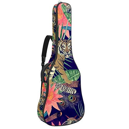 Borsa per chitarra, impermeabile, con cerniera, morbida, per chitarra elettrica, bassi, acustici e classici, borsa per chitarra elettrica Tiger Mucca esotica