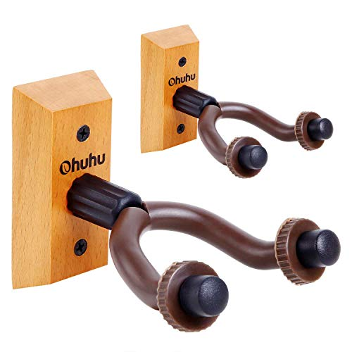 Ohuhu Supporto Gancio per Chitarra, Supporto a parete per chitarra 2 pezzi, gancio da muro per appendere la chitarra Supporto per basso elettrico chitarra acustica Ukulele