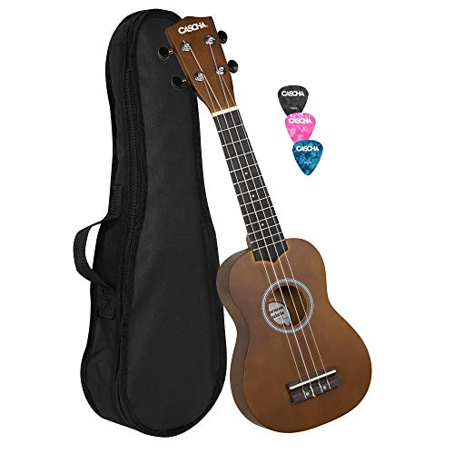 CASCHA Soprano Ukulele Bundle with Bag, 3 Picks and Aquila Strings