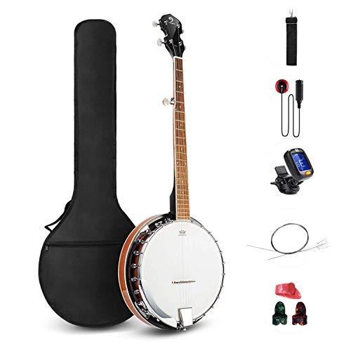 Vangoa Banjo a 5 corde con Remo Testa Chiusa Indietro Solida con kit per principianti, accordatore, cinghia, pick up, archi, plettri e borsa