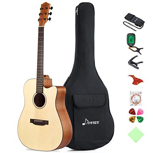 Donner Chitarra Acustica Guitar cutaway Full- Size 41 pollice di legno mogano Accessori completi