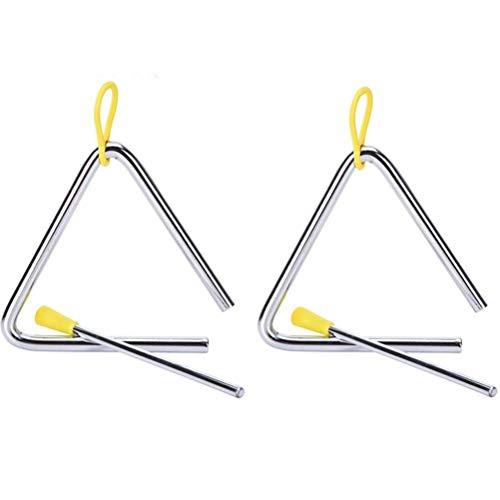 Set da 2 strumenti a triangolo musicale, 12,7 cm, con bacchetta, per bambini