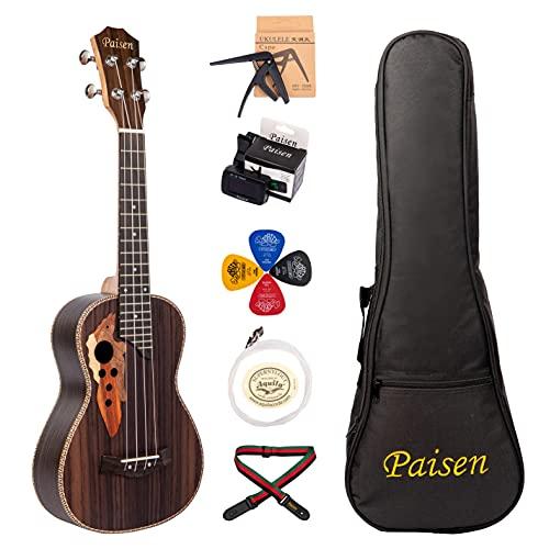 Paisen Ukulele da 23 pollici concerto professionale in palissandro delle Hawaii invia con borsa imbottita per accordatore di corde Aquila set completo di accessori
