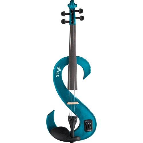 Stagg EVN 4/4 MBL Violino Elettrico Completo 4/4, Blu Metallizzato