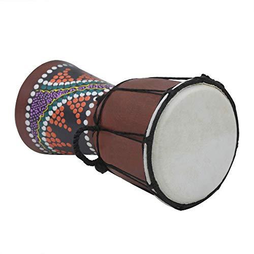 Kalaok Strumento musicale a percussione tamburo tamburo africano in legno di dimensioni compatte da 4 pollici Djembe Bongo con motivo colorato (modelli consegna casuale)