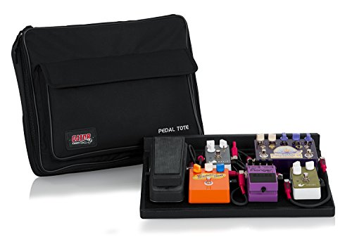 Pedaliera per chitarra Gator in legno 18 x 30,48 cm borsa per trasporto in nylon con lucchetto - nero, legno, 42 x 30,5 cm