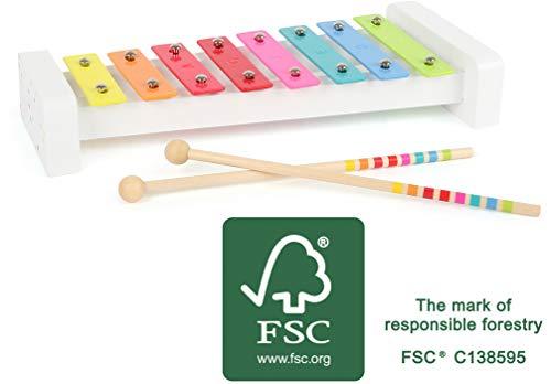 Small Foot- Xylofono Sound in Legno Certificato FSC 100%, dal Design colorato, promuove la comprensione Musicale Giocattoli, Multicolore, 11117