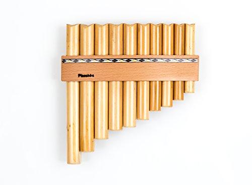 Flauto di Pan con 10 tubi / toni in Do maggiore, fatto a mano in Alto Adige
