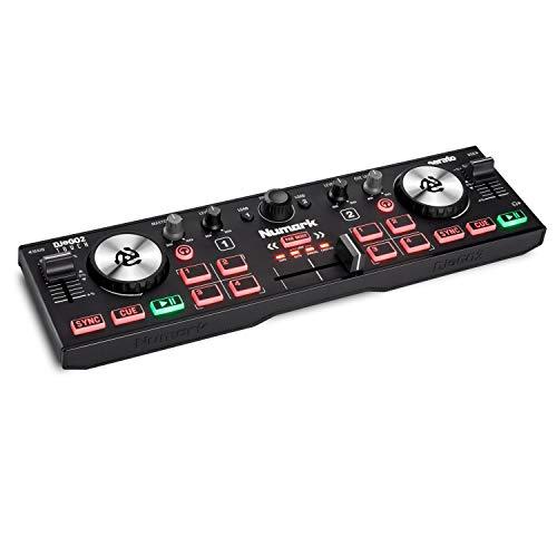 Numark DJ2GO2 Touch - Console DJ Compatta USB con 2 Deck per Serato DJ, con Mixer / Crossfader, Scheda Audio e Jog Wheel Capacitive Sensibili al Tocco