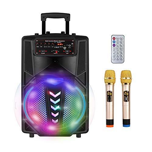 S SMAUTOP Macchina per Karaoke Portatile con Bluetooth, 2 Microfoni Wireless, Telecomando Wireless,Effetto Illuminazione LED Party e Ingresso Aux,Supporto TF Card e USB,Sistema PA Karaoke Ricaricabile