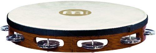 Meinl Percussion TAH1AB - Tamburello in legno con testa di pelle e 1 fila di sonagli d'acciaio nel telaio, diametro: 25,40 cm (10''), colore marrone