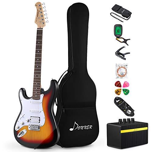 Donner Kit Chitarra Elettrica Stratocaster Chitarre Elettriche Mancina da 39 pollici con amplificatore, borsa, capo, cinghia, corda, accordatore, cavo e plettri (Sunburst, DST-100SL)