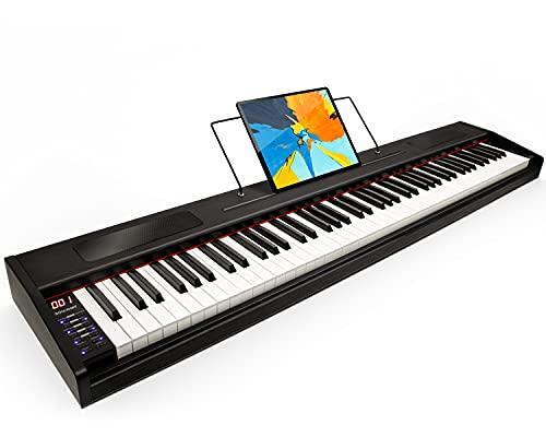 Souidmy G-110W Pianoforte digitale per principianti, tastiera semi-pesanti a 88 tasti, la tastiera portatile con la borsa per tastiera - In Legno