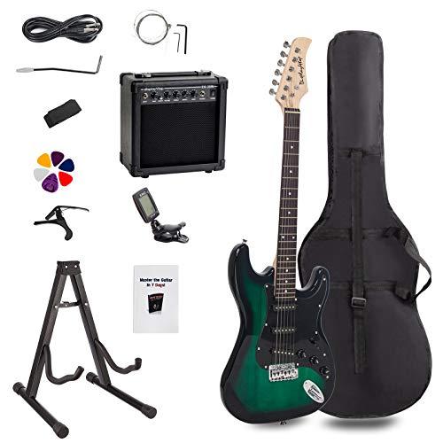 Display4top Kit per Chitarra Elettrica con amplificatore da 20 Watt, supporto per chitarra, borsa, plettro per chitarra, cinturino, corde di ricambio, accordatore, custodia e cavo (Nero-Verde)