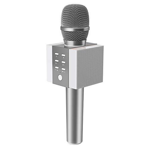TOSING 008 Microfono Karaoke Bluetooth wireless, volume maggiore 10W, più basso, 3-in-1 Microfono portatile con doppio altoparlante per Android/PC (Argento)