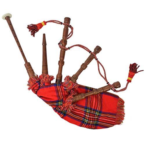 Festnight- Cornamusa Scozzese Great Highland Stewart Tartan Rosso Regale, Cornamusa in Palissandro