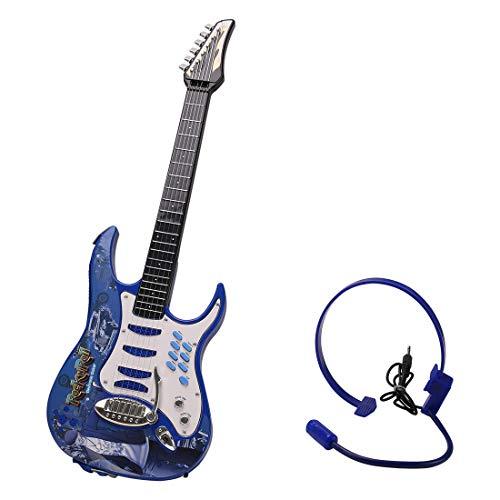 ZUJI Chitarra Elettrica per Bambini 6 Corde Rock Chitarra Giocattolo con Auricolare Strumento Musicale Giocattolo per Bambini