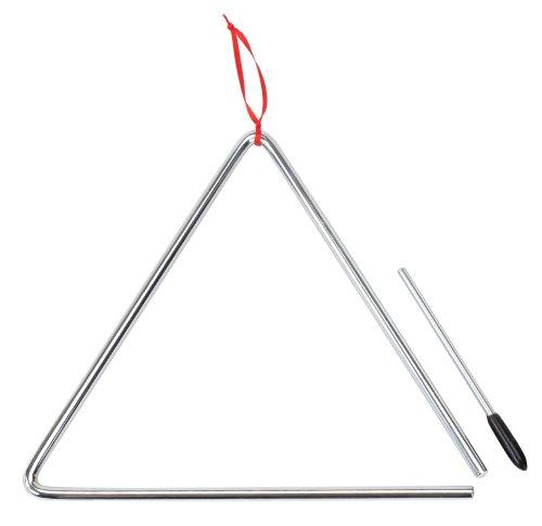 XDrum - Triangolo piccolo in acciaio con bacchetta, misura 8 mm 10