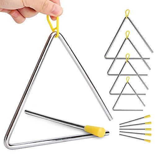 Confezione da 5 triangoli musicali, strumenti a percussione con bacchetta, per l'ispirazione musicale dei bambini, 5 misure (10,2, 12,7, 15,2, 17,8, 20,3 cm)