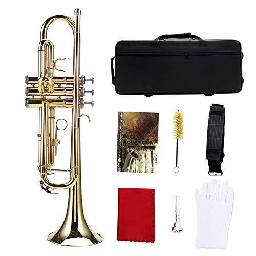 Tromba Ottone, Tromba Strumento Ottone, Tromba d'oro Standard BB Tromba Piatta in Ottone Kit con Custodia, Guanti, Accessori per Kit di Pulizia, per Principianti Studente