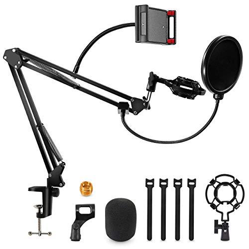 Gifort Supporto Microfono da Tavolo, Supporto per Microfono a Braccio Regolabile con Filtro Antipop, Mic Clip, Ragno e Adattatore da Studio per Blue Yeti e Altri Microfoni