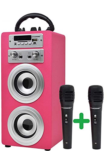 DYNASONIC - Altoparlante Bluetooth portatile con modalità karaoke e microfono, radio FM e lettore USB SD (modello rosa) (2 microfoni TWS)