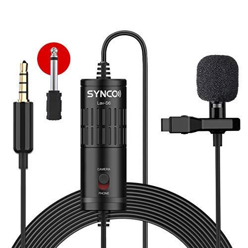 SYNCO Lav S6 Microfono-Lavalier-Microfono-a-Clip Condensatore Omnidirezionale 6 Metri / 19,7 Piedi, Compatibile per Fotocamere, Cellulari, Videocamere, Registratori Audio, Mixer e Computer