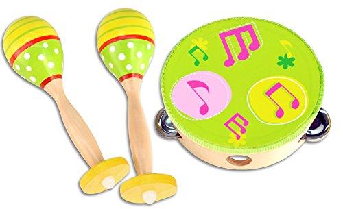 Bontempi- Kit Strumenti Musicali in Legno, Colori e Disegni Assortiti, 61 0510