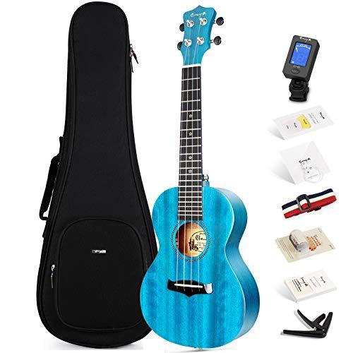 Ukulele Concerto Enya EUC-25D BU 23 pollici blu ukelele con top in mogano massiccio, borsa imbottita, accordatore, tracolla, capotasto, corde di scorta, plettri, panno per la pulizia, fingershaker