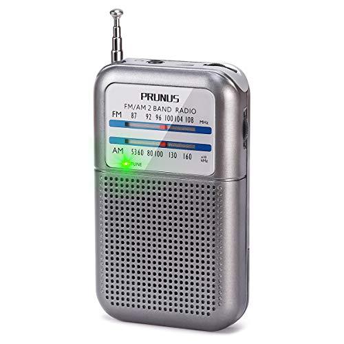 PRUNUS DEGEN-333 Mini Radio Portatile FM/AM(MW),Radiolina Tascabile, Eccellente Ricezione, Manopola di Sintonizzazione con l'Indicatore di Segnale. Supporta Batterie Sostituibili (AAA)
