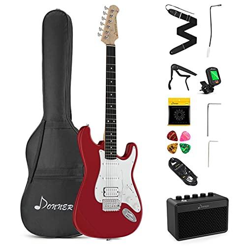 Donner Kit Chitarra Elettrica Stratocaster Chitarre Elettriche da 39 Pollici con Amplificatore, Borsa, Capo, Cinghia, Corda, Sintonizzatore, Cavo e Plettri (Rosso)