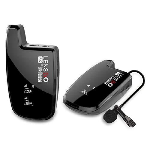 Sistema Microfonico Lavalier Wireless, LENSGO LWM-308C Mic Professionale Wireless Omnidirezionale UHF 30-canali con 1 Trasmettitore e 1 Ricevitore per Smartphone Fotocamera Canon Nikon DSLR e Altro