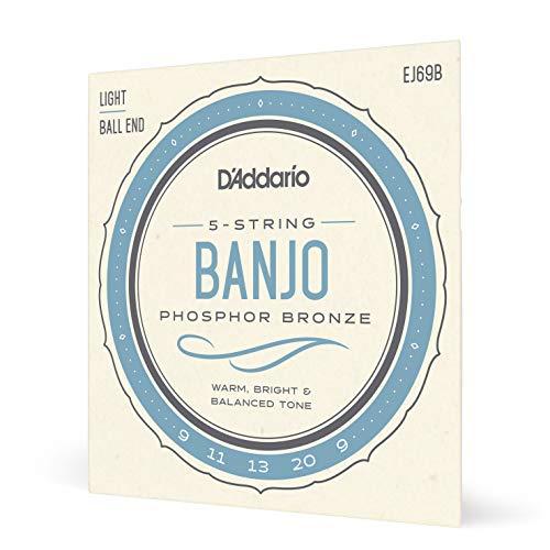 D'Addario EJ69B Phosphor Bronze Set per Banjo a 5 Corde, con Pallino Finale, Tensione Bassa, 9-20