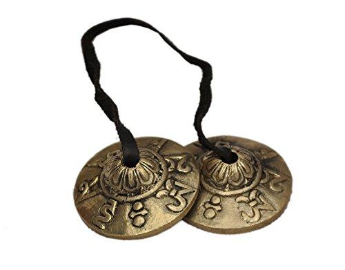 "Dharma Store, cimbalo tibetano Tingsha, piccolo, mantra ""Om Mani Padme Hum"""