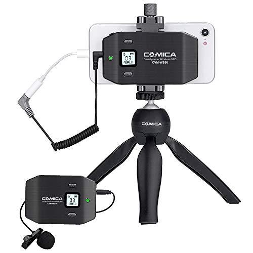 Microfono per smartphone wireless Comica CVM-WS50 (C), con 6 canali UHF, supporto per smartphone integrato, gamma wireless 194FT, microfono per Iphone Samsung Huawei ecc.